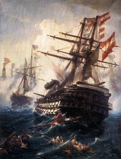 """Sea Battle """"Das Linienschiff Kaiser in der Seeschlacht von Lissa.""""by Konstantinos Volanakis (1837-1907)"""