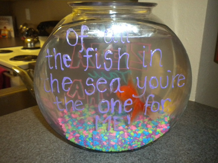 "I love this idea for big little week... one side of the bowl it says zeta tau alpha and the other it says ""out of all the fish in the sea your the one for me"""