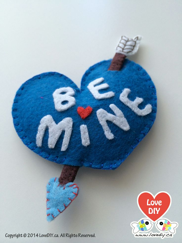 Felt Heart Pin for Valentine's Day by LoveDIY.ca, felt heart, felt pin, valentine's day, gift idea, be mine Visit www.lovediy.ca for more