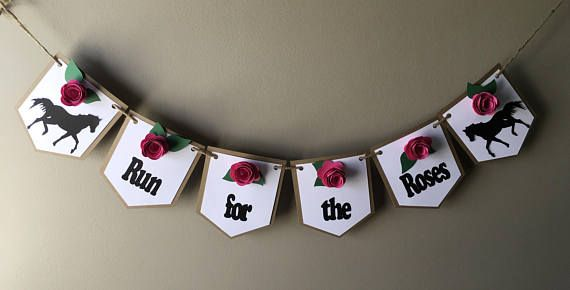 Kentucky Derby Banner, Party in style at your next Kentucky derby party with this cute banner it is decorated with red roses about 1-2 in diameter and a horses at each end with the words RUN FOR THE ROSES this text can be change to what ever you wants it to read. The flags are 4.75 long and 4 wide and made from a double layer of card stock brown at the back and white on top and the banner is strung on jute twine. Kentucky Derby Horses and Roses decoration Ready to Ship..If you want a larger…