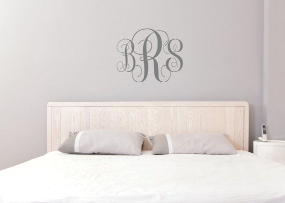 Monogram Wall Decal | Initial Wall Decal | Nursery Decal | Personalized Letters | Teen Monogram | Housewarming Gift | Dorm Room Ideas | Apartment Decorating |…
