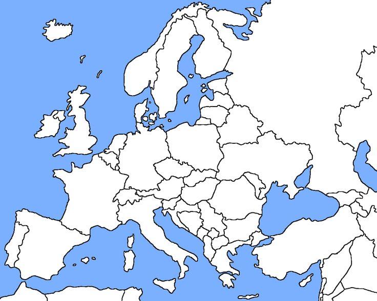 Lege kaart van Europa om het Romanum Imperium op te kunnen tekenen.