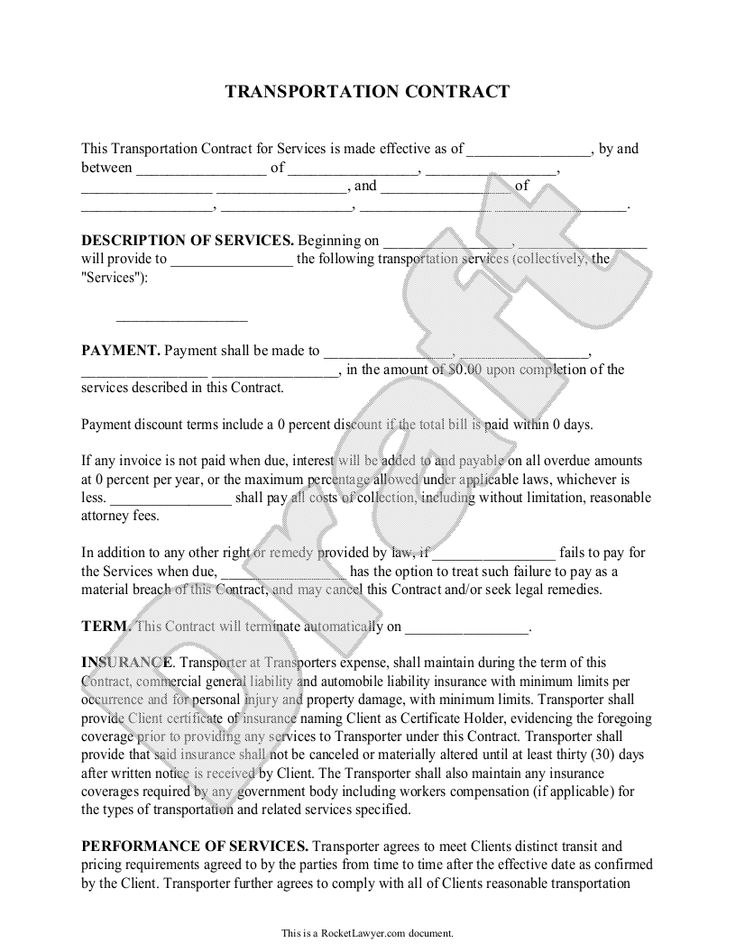 Transportation Contract Agreement Form With Sample