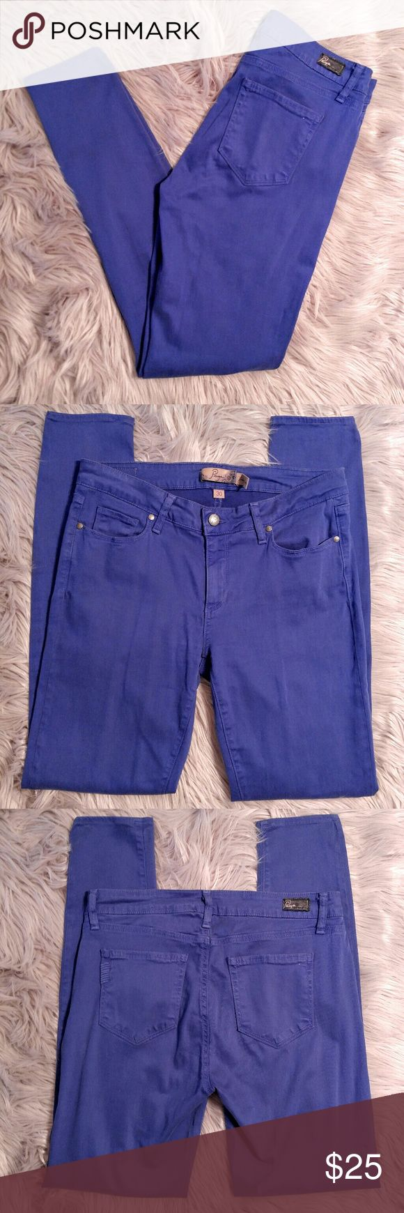 "Paige Verdugo Bright Blue Legging Pants (Anthro) Paige Verdugo Bright Blue Legging Pants by Anthropologie  In EUC with no major signs of wear. Size 30 with a 15"" waist and 31"" inseam. 65% lyocell 33% cotton 2% elastine. Paige Jeans Pants Leggings"
