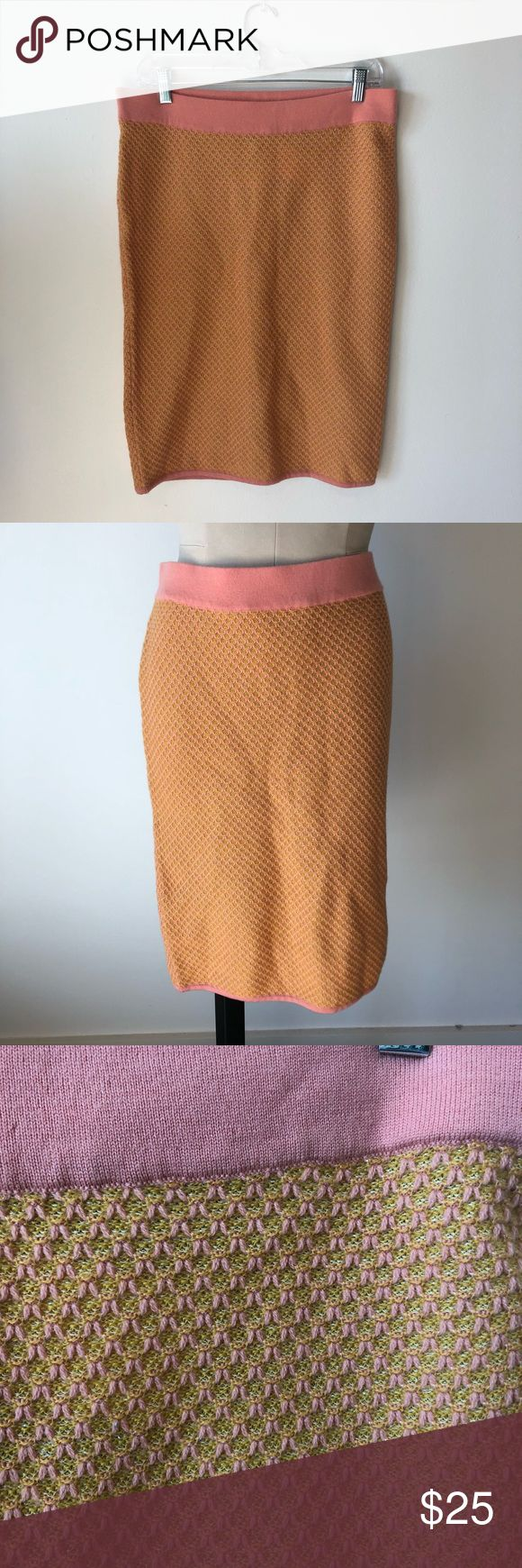 """H&M Pink Yellow Wool Skirt NWT H&M Pink Yellow Wool (81%) Skirt NWT  Size 12  small """"hole"""" in band of skirt - see picture H&M Skirts Midi"""