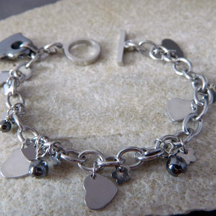 stainless steel charm bracelet