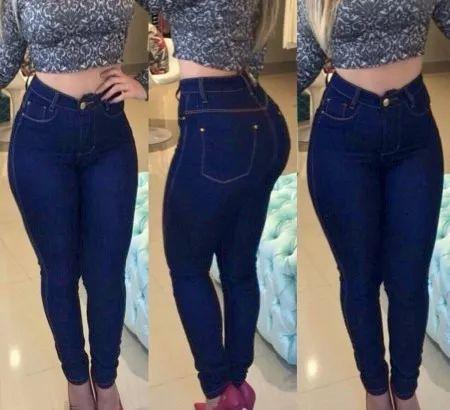 calças jeans sarja colors cintura alta feminina com lycra
