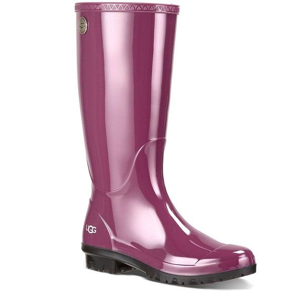 Ugg Australia Shaye Rain Boots ($80) ❤ liked on Polyvore featuring shoes, boots, purple, wellington boots, rain boots, ugg australia, wellies rubber boots and rubber boots