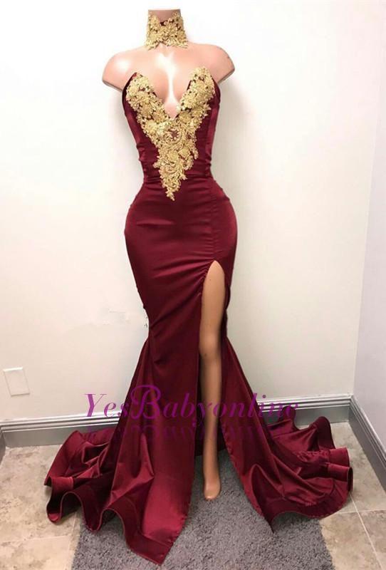 Gorgeous Burgundy Mermaid Prom Dresses Gold Lace Appliques Side Slit Evening Gowns_Wholesale Wedding Dresses, Lace Prom Dresses, Long Formal Dresses, Affordable Prom Dresses - High Quality Wedding Dresses - Yesbabyonline.com