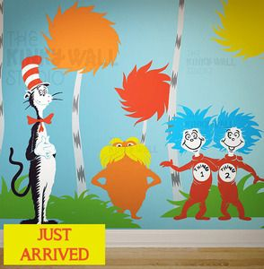Ships worldwide for $12!!  Dr Seuss Wall Decal Sticker The Lorax Characters room theme