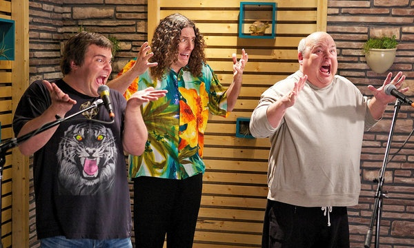"Jack Black, Kyle Gass (Tenacious D) and Weird Al Yankovic in an episode of ""Comedy Bang! Bang!,"" on IFC"
