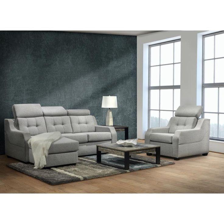 Sofa with lounge chair and adjustable headrests by Belisle. #sofa #fabricsofa #furniture #livingroom