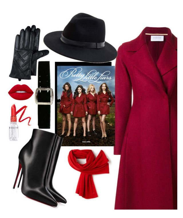 """""""Pretty little lairs red coat ❤️"""" by lailaspen ❤ liked on Polyvore featuring Ellis Faas, Harris Wharf London, Christian Louboutin, Rodin, Lime Crime, Sole Society, Express and Lacoste"""