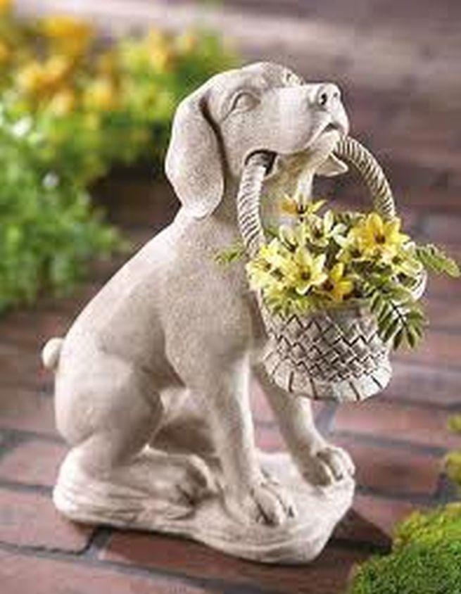 Dog And Basket Garden Statue Garden Dog Statue