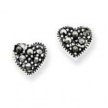 Marcasite Heart Earrings in Sterling Silver