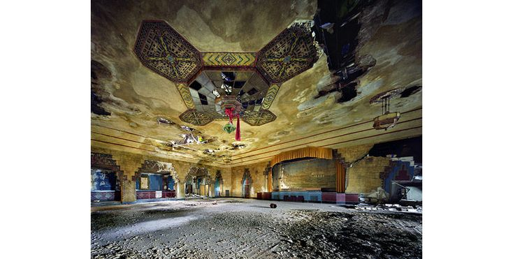 Detroit's Vanity Ballroom with its unsalvaged art deco chandeliers. Duke Ellington and Tommy Dorsey once played here. French photographers Yves Marchand and Romain Meffre set out to document the decline of an American city.: Abandoned Building, Vanities, Ballrooms, Vanity Ballroom, Yves Merchant, Ruins, Abandoned Detroit, Abandoned Places