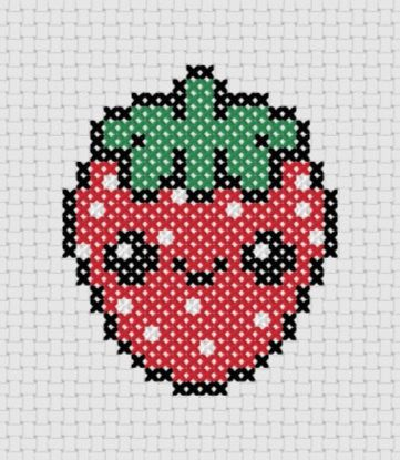 Kawaii Strawberry Cross Stitch !!  Too Cute !!!