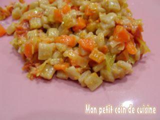 Crozets aux carottes et poireaux