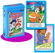 Difficult Situations Fun Deck -   Brand new from Super Duper Publications!- Use these 56 illustrated cards to talk about safety, emotions, and different ways of acting in response to events that might occur. Improve reasoning, inferencing, sequencing, and memory skills too! Game ideas and content cards included.