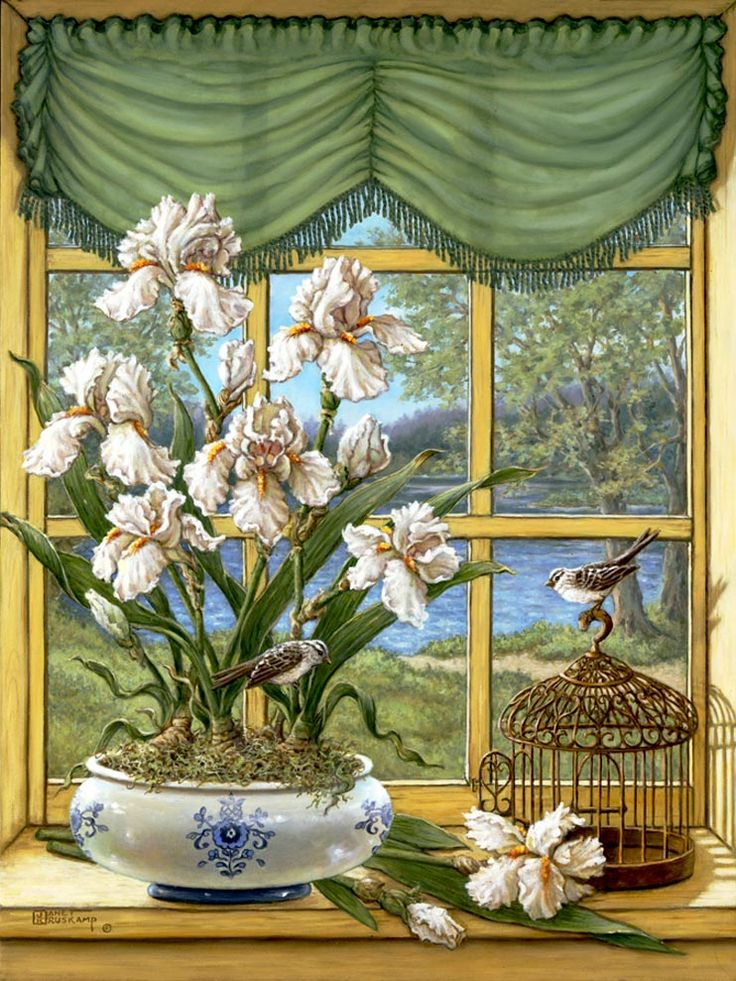 Janet Kruskamp's Paintings - Irises by the Lake, a painting of a wide white porcelain planter with blue decoration holding white iris plants...
