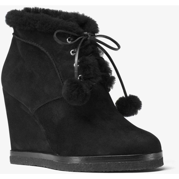 Michael Kors Collection Chadwick Suede And Shearling Wedge Boot ($110) ❤ liked on Polyvore featuring shoes, boots, wedge ankle boots, short boots, lace-up bootie, michael kors boots and lace-up boots