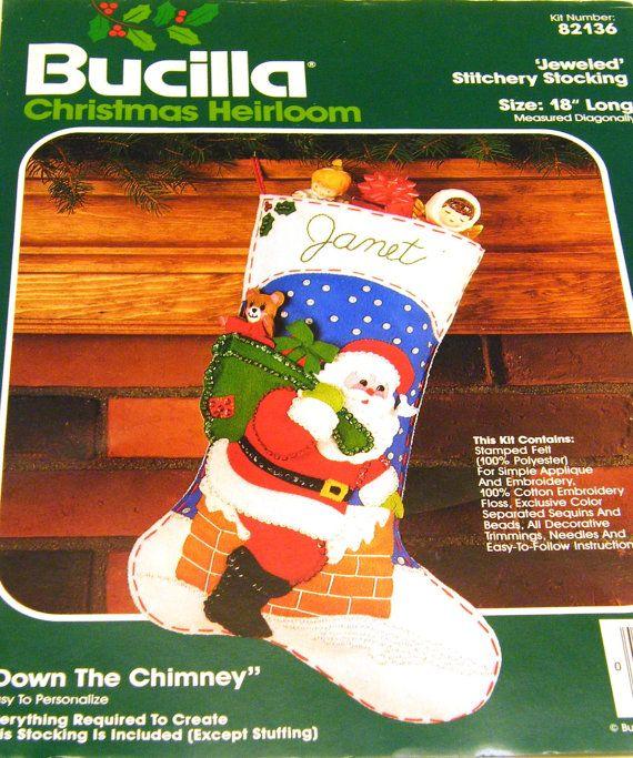 Down the Chimney - Bucilla Jeweled Stitchery Felt Stocking Kit 82136