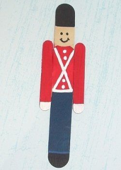 toy soldier ornament (also has a penguin ornament on this site) using popsicle sticks.
