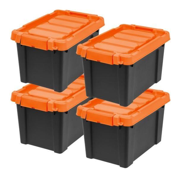 Duty Waterproof Storage Container, Orange Storage Totes With Lids