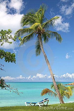 A lounge chair with a view of an Antiguian oceanfront vista. #Antigua #Caribbean