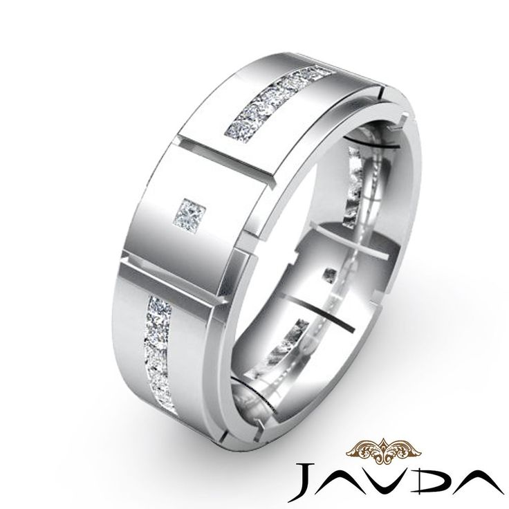 Superb Princess Channel Set Diamond Eternity Wedding Mens Solid Band Platinum Ring Ct