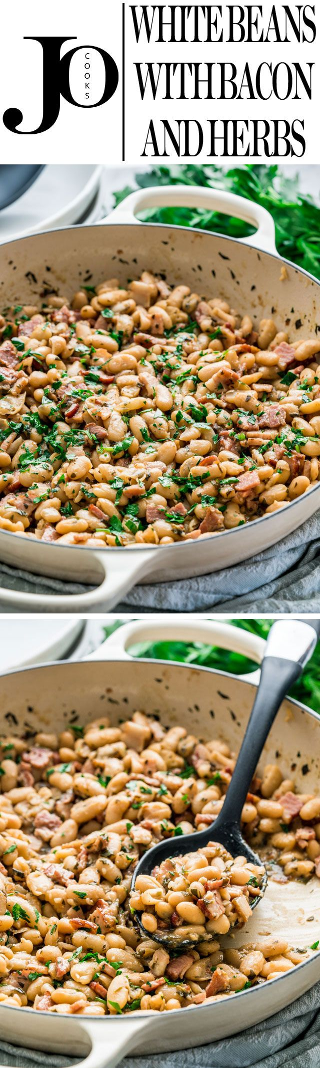 These white beans with bacon and herbs are so simple to make, rich and savory, comforting, loaded with flavor and super delicious.