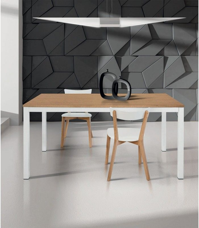 Tavolo Moderno Allungabile Bianco e Rovere Tavolo