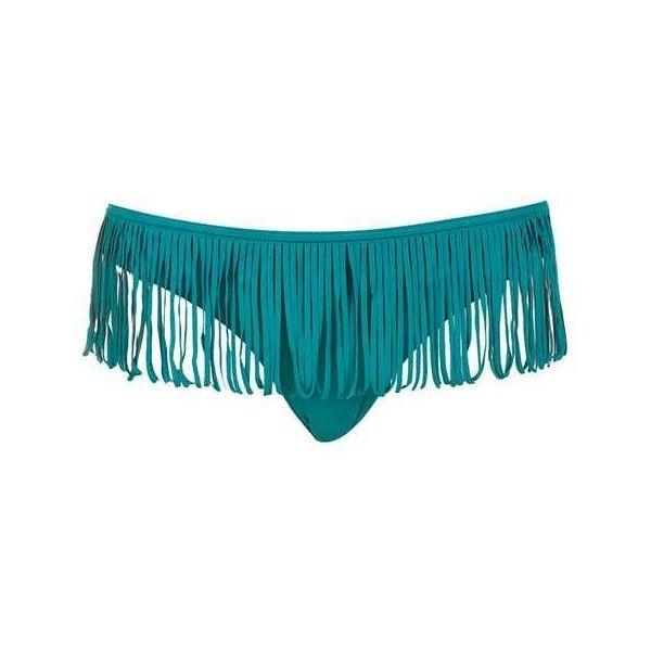 TopShop Fringe Bikini Bottoms ($8) ❤ liked on Polyvore featuring swimwear, bikinis, bikini bottoms, fringe bikini, fringe bikini bottom, fringe swimwear, bottom bikini and swim bikini bottoms