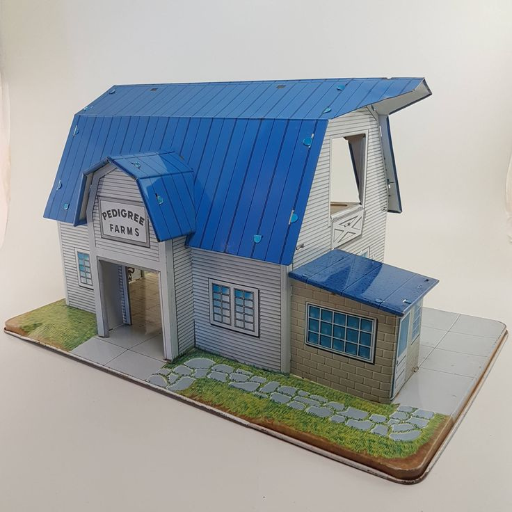 Marx Tin Metal Lithograph Dairy Farm   Vintage Blue White Tin Marx Barn, Very Rare Pedigree Farms, Canadian version of Happi-Time Dairy Barn by Jimpiphanys on Etsy
