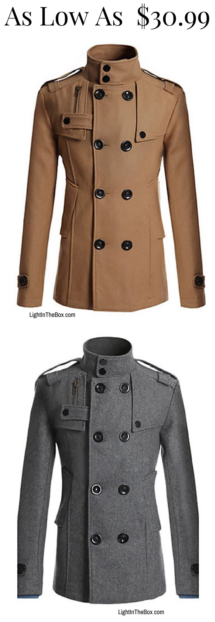 Casual camel button breast men coat for any occasion. Like it? click on the picture to shop it in brown, black and navy blue colours at just $30.99.