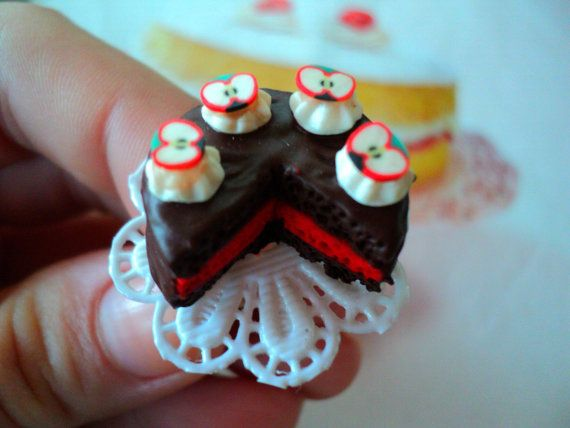 miniature food cake polymer clay dollhouse by EVELjewlery on Etsy