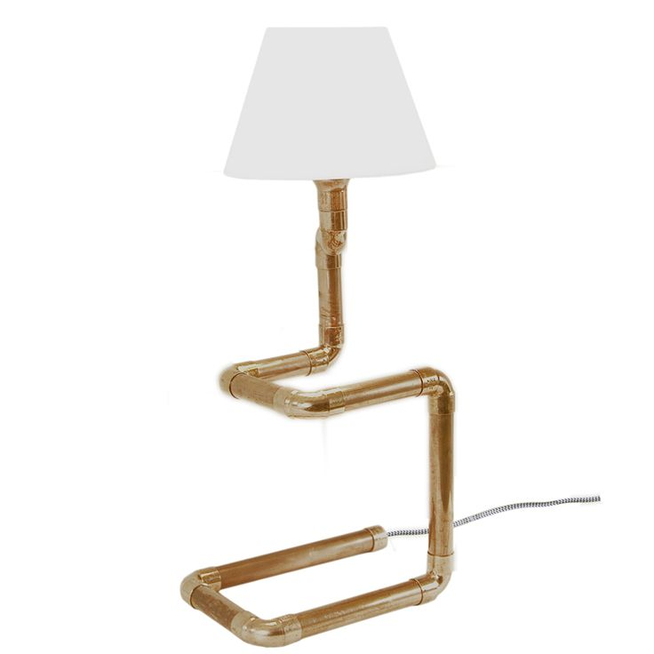 Copper pipe table lamp with lampshade Gie El