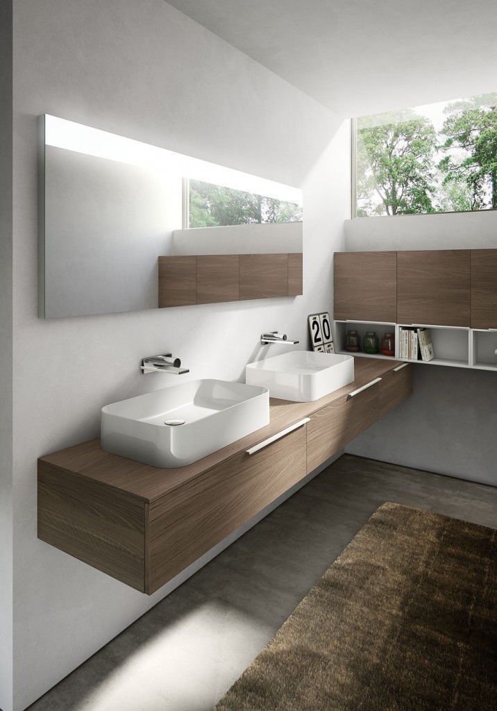 Wall-hung washbasin cabinet / composite / melamine / contemporary - MY TIME - IDEAGROUP