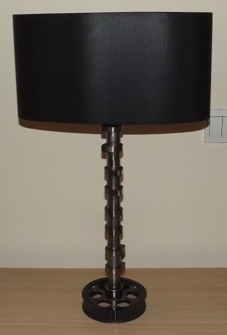A gorgeous table lamp built from engine car parts!