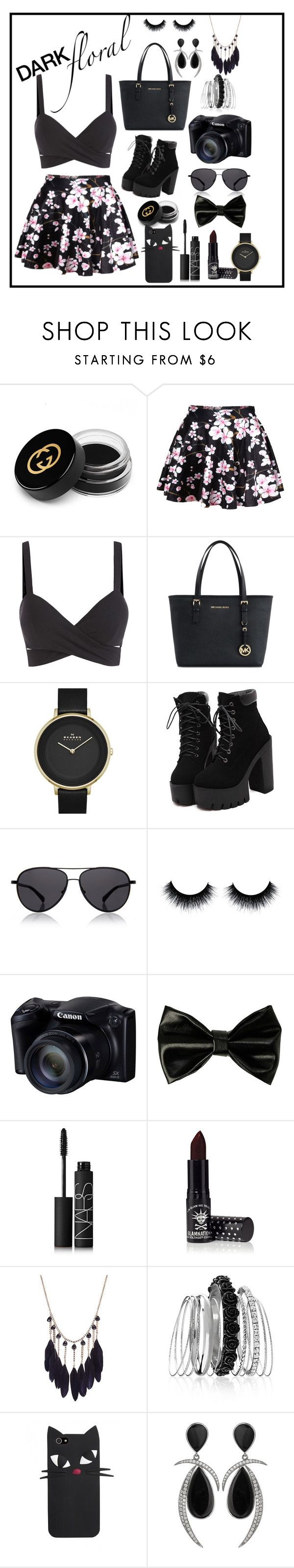 """DARK floral"" by bailywyatt ❤ liked on Polyvore featuring Gucci, Michael Kors, Skagen, The Row, NARS Cosmetics, Manic Panic, Avenue and Jorge Adeler"