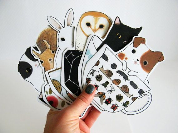 Animals in Teacups Blank Greeting Card Set by TwoBlackCatsStudio, $20.00