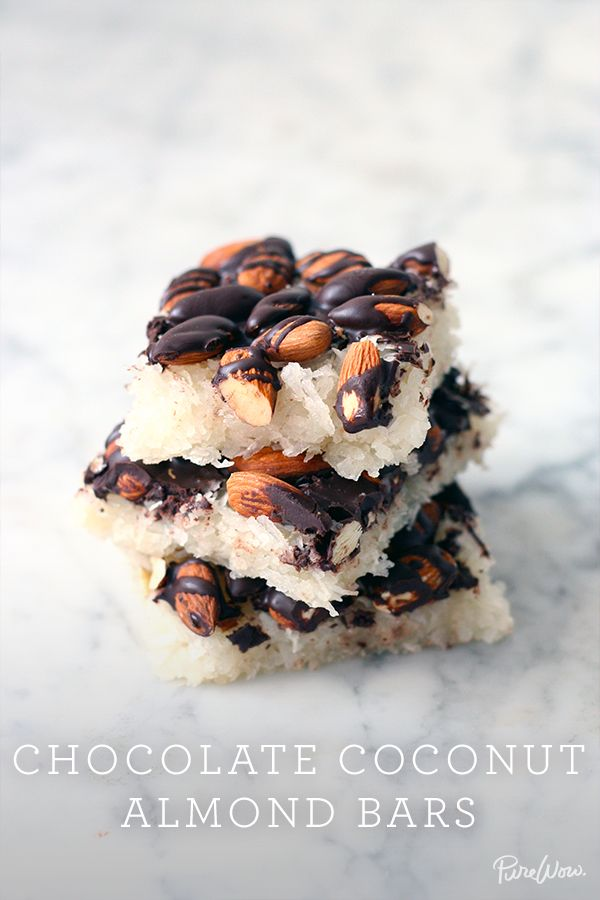 Chocolate Coconut Almond Bars recipe. A treat the whole family can enjoy. If you love Mounds candy bars, you'll love these. They're easy to make and ready in under an hour.