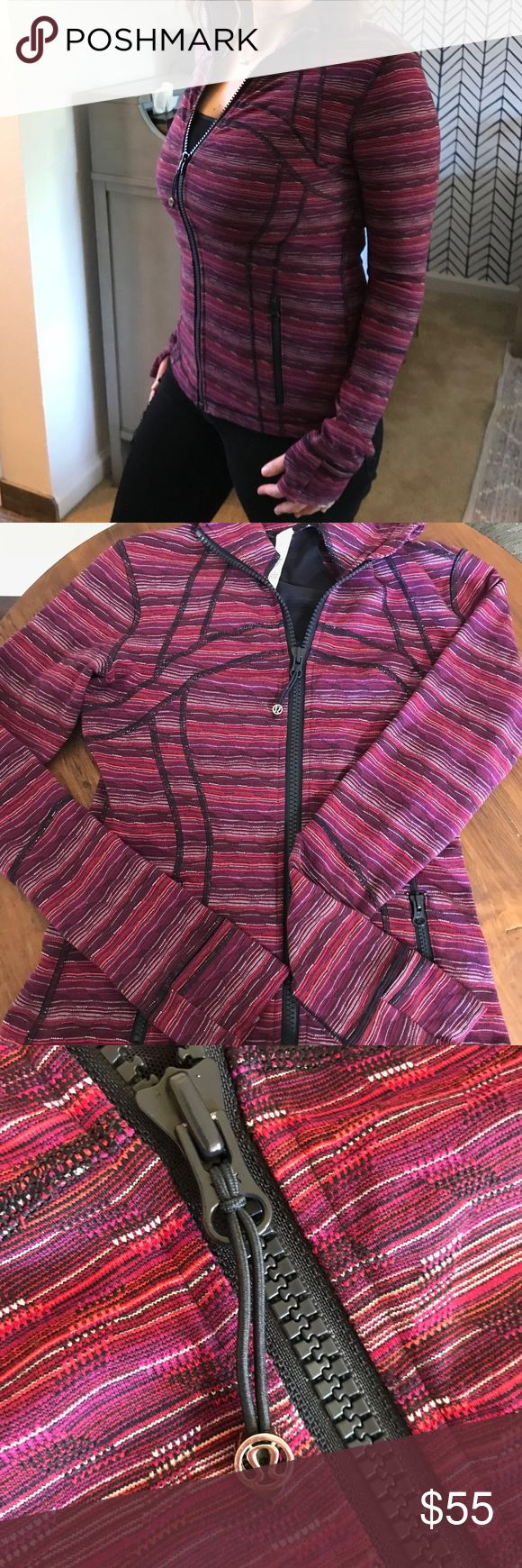 Lululemon Define Jacket Great condition Lululemon Define Jacket!  Lightweight, but warm!  Perfect for early morning runs, after yoga class, or dropping the kids off at school!  Size 6, fits like a Small.  No flaws.  81% Nylon, 19% Lycra; multi-colored. lululemon athletica Jackets & Coats