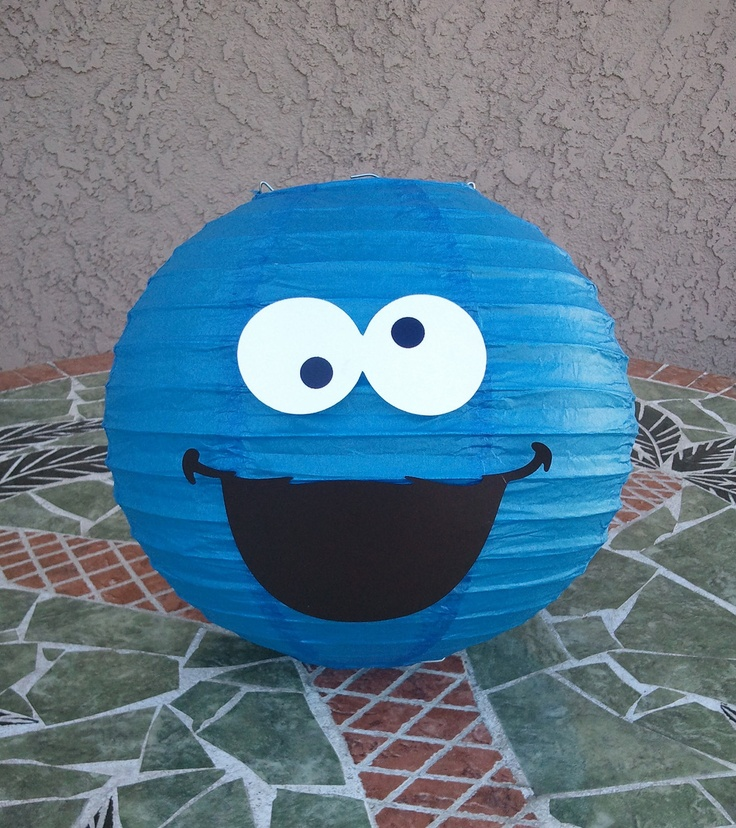 Cookie Monster Paper Lantern. Perfect for a Sesame Street themed kids party! #diy #kidsparty #paperlantern