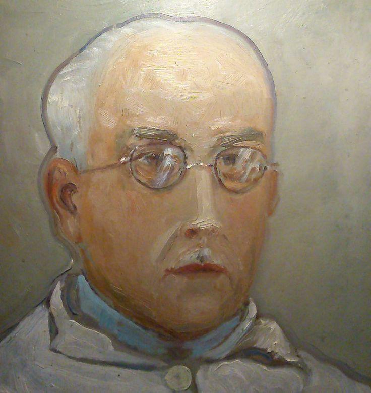 Autoportrait Omer Reddé 1927 huile sur carton peintre musicien Châtillonnais 5F