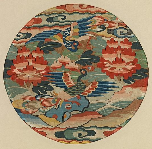 Medallion with Two Peacocks, 16th century. Ming dynasty (1368–1644). China. The Metropolitan Museum of Art, New York. Fletcher Fund, 1942 (42.74.4) #peacock