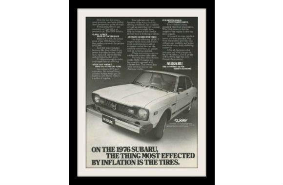 """1976 Subaru Sedan Car Ad """"Inflation"""" Vintage Advertisement Print"""