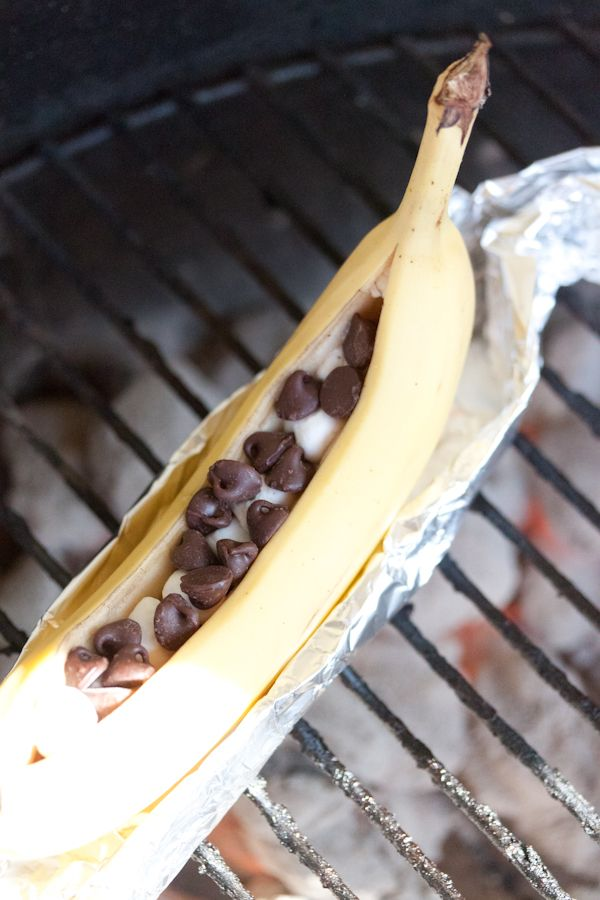 Chocolate and Marshmallow Stuffed BBQ Bananas  Cut open banana, fill with chocolate and marshmallows, wrap in foil.  Place on grill.