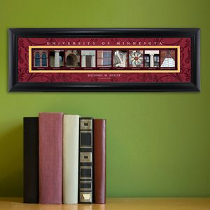 Personalized Collegiate Framed Architectural Elements Print - College names are spelled out using photos of elements from campus buildings that resemble letters. The names of the building are listed below each letter. Personalize the print with the name of student and year of graduation or other desired text. Send a University Photo Name Frame to a new college graduate or proud alma mater. Over 100 colleges and universities now available from Arttowngifts.com.