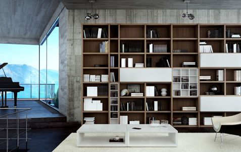contemporary wooden bookcase (custom made) CARRE furniture